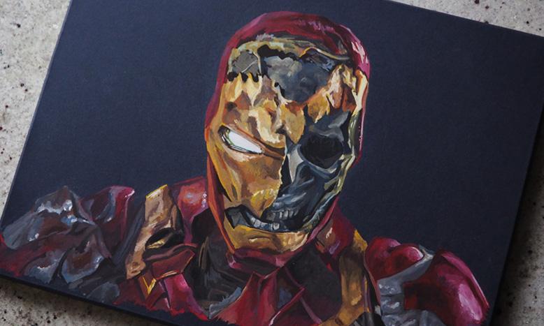 Портрет железного человека в стиле фан-арт. Арт портрет фанату комиксов